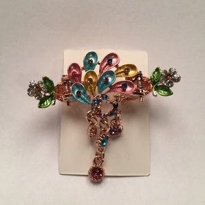Accessories - Multi-Color Painted Peacock Hair Clip